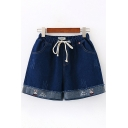 Casual Trendy Girls Drawstring Waist Letter Rabbit Embroidered Raw Edge Relaxed Denim Shorts