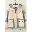 Cool Casual Long Sleeve Zipper Front Flap Pockets Color Block Loose Fit Jacket for Girls