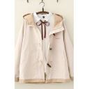 Leisure Preppy Looks Long Sleeve Hooded Button Down Contrasted Letter Print Relaxed Fit Duffle Coat