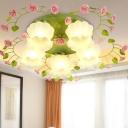 Rose Living Room Ceiling Lighting Country Style Metal 1/3/5 Heads Green Flush Mount Light