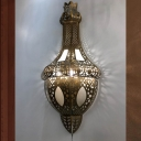 Teardrop Hallway Sconce Wall Light Arabian Metal 1 Bulb Brass Wall Lighting Fixture