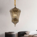 1 Light Lantern Hanging Lamp Arabic Brass Metal Pendant Ceiling Light for Restaurant