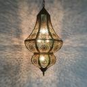 5 Bulbs Metal Chandelier Light Arabian Black Curvy Restaurant Ceiling Hang Fixture