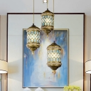 Metal Cylinder Cluster Pendant Light Antique 3 Bulbs Dining Room Down Lighting in Red/Yellow/Blue