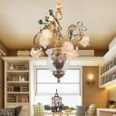 Brass 7 Bulbs Chandelier Light Pastoral Metal Floral LED Pendant Lighting Fixture for Study Room