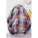Leisure Men's Long Sleeve Lapel Neck Button Down Checker Pattern Oversize Shirt