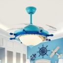 Rudder Acrylic Ceiling Fan Lamp Kids Bedroom 4 Clear Blades LED Semi Flush Mount Light in Blue with Wall/Remote Control, 36