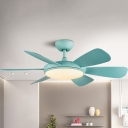 LED Acrylic Ceiling Fan Lighting Kids Blue/Wood Circle Living Room Semi Flush Lamp with 6 Blades, 42