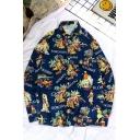 Stylish Guys' Blue Long Sleeve Lapel Neck Button Down Letter KOKOKAHI WAIANAE Cartoon Graphic Loose Shirt