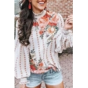 Unique Street Ladies' Blouson Sleeve Mock Neck Stringy Selvedge Floral Polka Dot Pattern Relaxed Fit Shirt in White