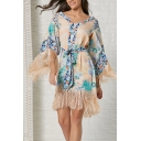 Ethnic Women's Apricot Bell Sleeve V-Neck Floral Patterned Fringe Decoration Tied Waist Mini A-Line Dress