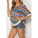 Ethnic Trendy Ladies' Batwing Sleeves Round Neck All Over Stripe Floral Pattern Asymmetric Oversize T-Shirt