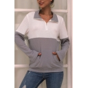 Women's Classic Gray Long Sleeve Stand Collar Half Zipper Waffle Knit Colorblocked Loose Sweater Top