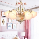 Pastoral Rose Hanging Chandelier 5 Bulbs Purple and White Glass LED Ceiling Light for Living Room