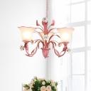 Blue/Pink Bell Chandelier Lamp Traditionalism Metal 3/5/7 Lights Living Room LED Pendant Light Fixture