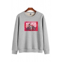 Casual Warm Boys' Long Sleeve Crew Neck Letter NEVER GIVE UP Comic Printed Sherpa Liner Loose Pullover Sweatshirt