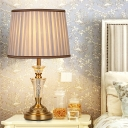 Contemporary 1 Bulb Reading Lamp Gold Tapered Drum Task Lighting with Fabric Shade