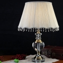 Urn-Shaped Table Light Modern Clear Crystal 1 Bulb Grey Small Desk Lamp, 14