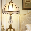 Modernist 1 Head Reading Light Gold Domed Nightstand Lamp with Frosted Glass Shade
