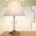 Paneled Bell Table Lamp Modern Fabric 1 Bulb White Desk Light with Brass Carved Metal Base