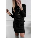 Elegant Trendy Women's Plain Long Sleeve Round Neck Bow Tie Waist Pockets Side Mini Tight Tee Dress