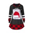 Designer Girls Long Sleeve Crew Neck Button Detail Varsity Stripe MERRY CHRISTMAS Hat Checkered Long Relaxed Fit T-Shirt