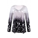 Leisure Women's Long Sleeve Round Neck Ombre Abstract Pattern Loose Fit T-Shirt
