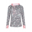 Casual Girls' Glove Sleeve Drawstring Zipper Front Stripe Floral Printed Slim Fit Hoodie in Pink