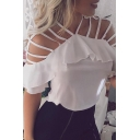 Pretty White Short Sleeve V-Neck Hollow Out Ruffled Trim Relaxed Fit T-Shirt for Women