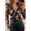 Stylish Sexy Black Long Sleeve Surplice Neck All Over Floral Printed Sheer Mesh Slim Fit Shirt for Ladies