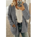 Fashion Women Long Sleeve Button Down Solid Color Loose Fit Knit Popcorn Sweater