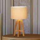 1 Bulb Bedside Table Light Modern White/Flaxen Nightstand Lamp with Cylindrical Fabric Shade