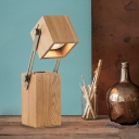 Modern 1 Head Nightstand Lamp Beige Rectangle Reading Book Light with Wood Shade