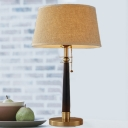 Tapered Drum Desk Lamp Modernism Fabric 1 Head Flaxen Reading Book Light, 12