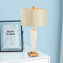 Straight Sided Shade Task Lighting Modern Fabric 1 Head Reading Book Light in White