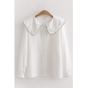 Preppy Ladies' Long Sleeve Peter Pan Collar Button Down Contrast Piped Relaxed Shirt