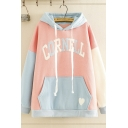 Lovely Pretty Girls Long Sleeve Drawstring CORNELL Printed Colorblocked Loose Fit Hoodie with Pocket