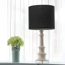 1 Bulb Bedroom Task Lighting Modern Black Nightstand Lamp with Drum Fabric Shade