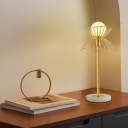 Flare Metal Table Lamp Modern 1 Head Gold Reading Light with Sphere White Glass Shade