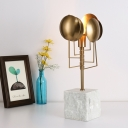 1 Head Saucer Desk Lamp Contemporary Metal Table Light in White with Marble Base