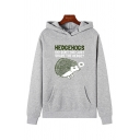 Pretty Girls Long Sleeve Letter HEDGEHOGS Graphic Pouch Pocket Relaxed Hoodie