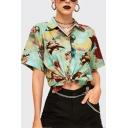 Trendy Women's Green Short Sleeve Lapel Neck Button Down All Over Angel Pattern Fitted Shirt