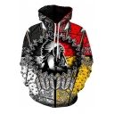 Unique Crazy Men's Long Sleeve Drawstring Tribal 3D Printed Pouch Pocket Hoodie in Black