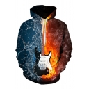 stylish Men's Long Sleeve Drawstring Guitar Flame Patterned Pouch Pocket Relaxed Hoodie in Blue