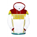 Cool Street Boys' White Long Sleeve 1000000 Number Stripe Print Colorblocked Relaxed Hoodie with Pocket
