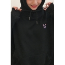 Korean Style Long Sleeve Drawstring Cat Moon Embroidered Oversize BF Hoodie with Pocket