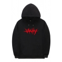 Cool Boys Long Sleeve Drawstring Gothic Letter Print Pouch Pocket Loose Hoodie