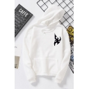 Harajuku Girls Long Sleeve Drawstring Logo Printed Loose Hoodie with Pocket