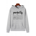 Streetwear Girls Long Sleeve Letter PERFECTLY IMPERFECT Pattern Kangaroo Pocket Relaxed Hoodie