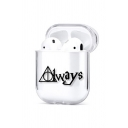 Chic Stylish Cartoon Owl Glasses Letter ALWAYS Printed Airpods Case in White